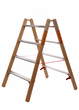 Holz/Alu Breitleiter (Stufen-Stehleiter)