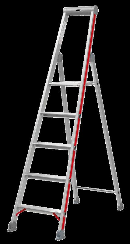 Alu-Stufenstehleiter mit Sicherheitsbr/ücke 6 Stufen